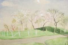 Baumgärten im Frühjahr Aquarell 1948