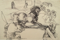 Das wild gewordene Pferd Federzeichnung 1926