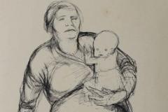 1929 Schwangere Frau mit Kindern